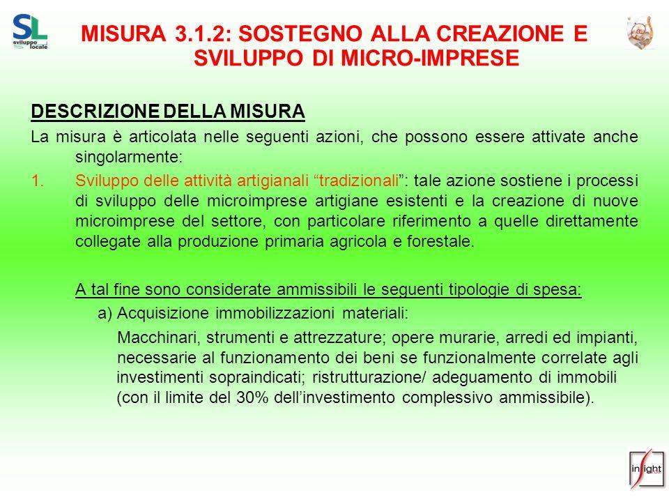 MISURA 3.1.2: SOSTEGNO ALLA CREAZIONE E SVILUPPO DI MICRO-IMPRESE DESCRIZIONE DELLA MISURA La misura è articolata nelle seguenti azioni, che possono e