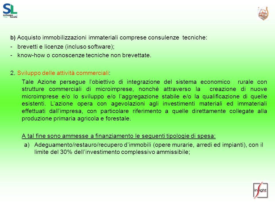 b) Acquisto immobilizzazioni immateriali comprese consulenze tecniche: - brevetti e licenze (incluso software); - know-how o conoscenze tecniche non b