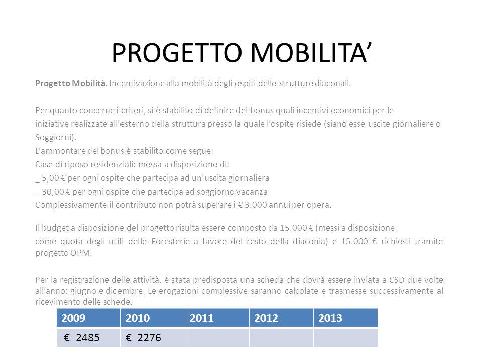 Progetto Mobilità. Incentivazione alla mobilità degli ospiti delle strutture diaconali. Per quanto concerne i criteri, si è stabilito di definire dei