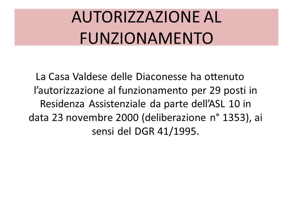 AUTORIZZAZIONE AL FUNZIONAMENTO La Casa Valdese delle Diaconesse ha ottenuto lautorizzazione al funzionamento per 29 posti in Residenza Assistenziale da parte dellASL 10 in data 23 novembre 2000 (deliberazione n° 1353), ai sensi del DGR 41/1995.