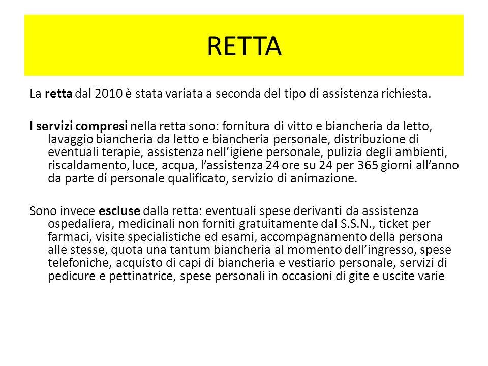 RETTA La retta dal 2010 è stata variata a seconda del tipo di assistenza richiesta.