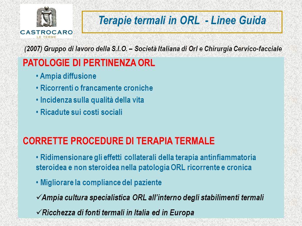 Terapie termali in ORL - Linee Guida PATOLOGIE DI PERTINENZA ORL Ampia diffusione Ricorrenti o francamente croniche Incidenza sulla qualità della vita
