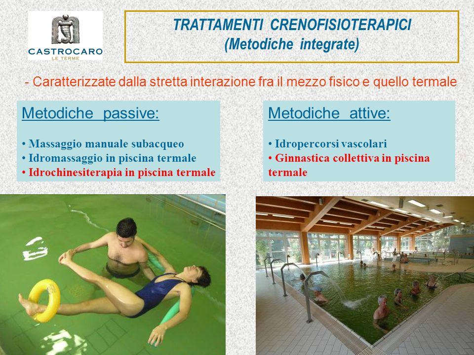 Metodiche passive: Massaggio manuale subacqueo Idromassaggio in piscina termale Idrochinesiterapia in piscina termale Metodiche attive: Idropercorsi v