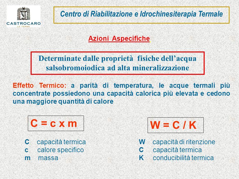 Effetto Termico: a parità di temperatura, le acque termali più concentrate possiedono una capacità calorica più elevata e cedono una maggiore quantità