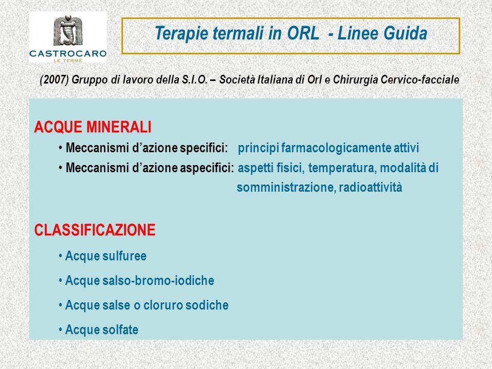 ACQUE SULFUREE e SALSOBROMOIODICHE ACQUE SALSOBROMOIODICHE Cloruro di sodio 47.780,2 mg\l Calcio 1.058,4 mg\l Magnesio 974,0 mg\l Bromo 190,5 mg\l Iodio 15,9 mg\l Residuo fisso a 180° 52.440,0 mg\l ACQUE SULFUREE Grado solfidrometrico Idrogeno solforato (H 2 S) 25 mg\l Residuo fisso a 180° 7242,0 mg\l