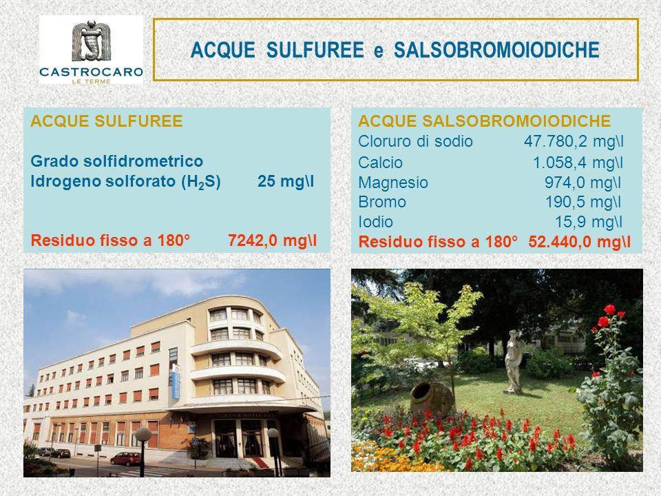 ACQUE SULFUREE e SALSOBROMOIODICHE ACQUE SALSOBROMOIODICHE Cloruro di sodio 47.780,2 mg\l Calcio 1.058,4 mg\l Magnesio 974,0 mg\l Bromo 190,5 mg\l Iod