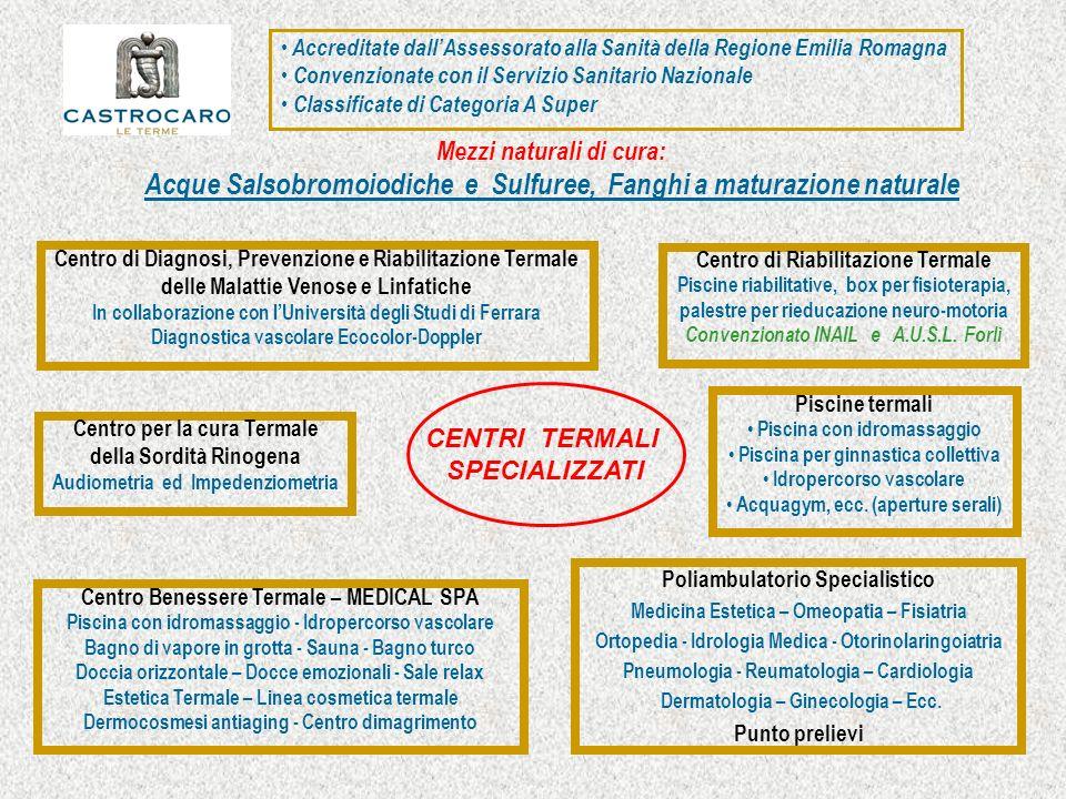 CENTRI TERMALI SPECIALIZZATI Centro per la cura Termale della Sordità Rinogena Audiometria ed Impedenziometria Centro di Riabilitazione Termale Piscin