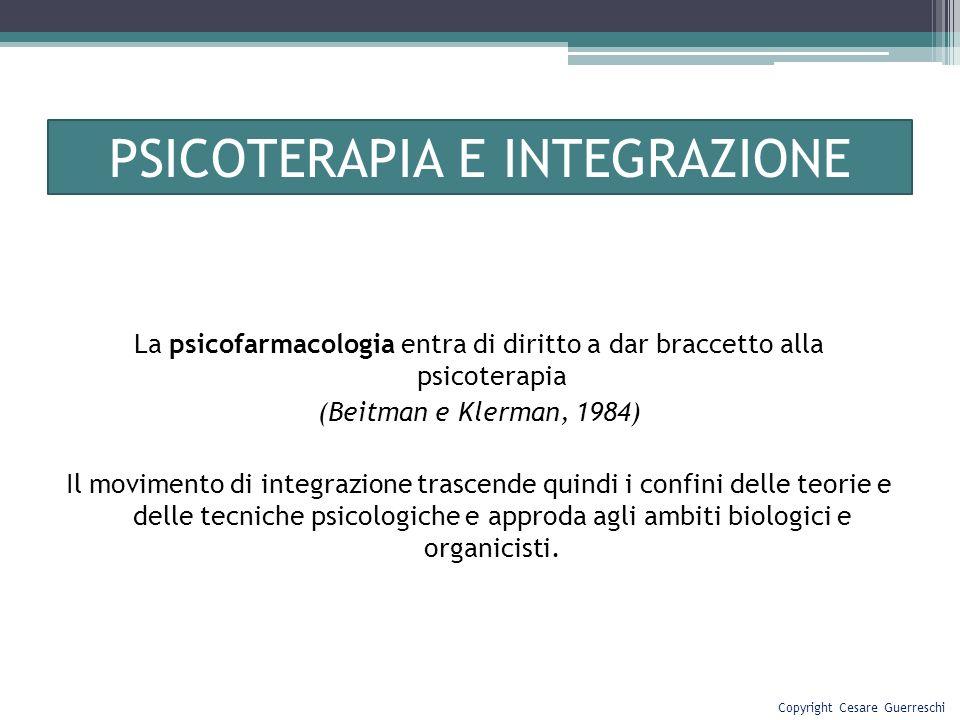 PSICOTERAPIA E INTEGRAZIONE La psicofarmacologia entra di diritto a dar braccetto alla psicoterapia (Beitman e Klerman, 1984) Il movimento di integraz