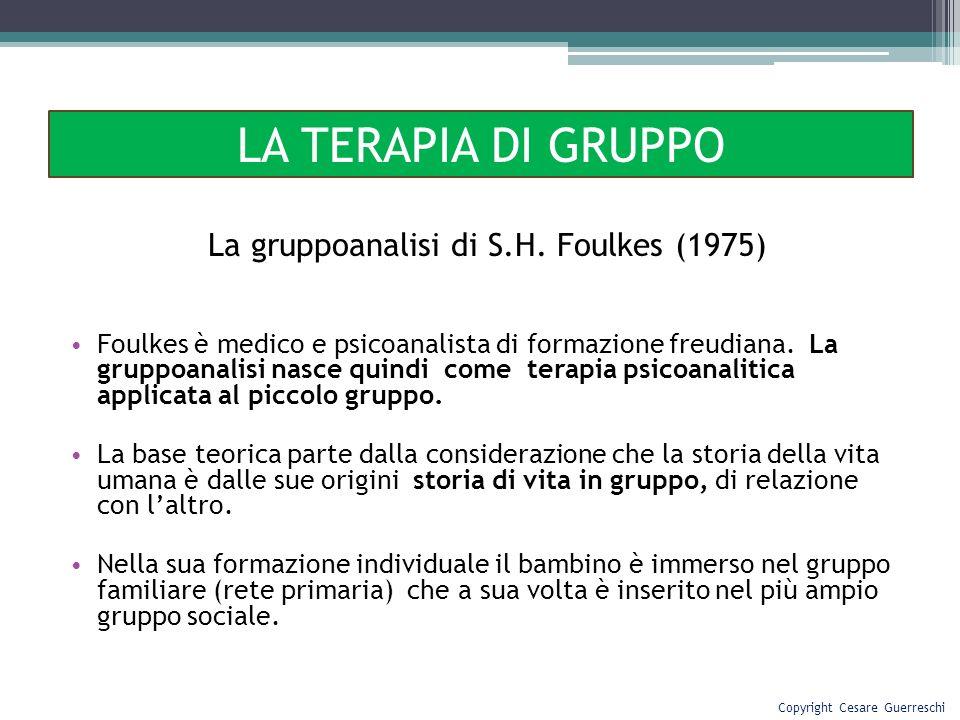 La gruppoanalisi di S.H. Foulkes (1975) Foulkes è medico e psicoanalista di formazione freudiana. La gruppoanalisi nasce quindi come terapia psicoanal