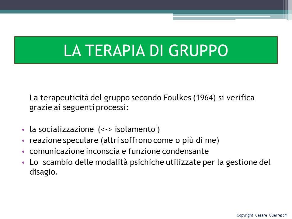 La terapeuticità del gruppo secondo Foulkes (1964) si verifica grazie ai seguenti processi: la socializzazione ( isolamento ) reazione speculare (altr
