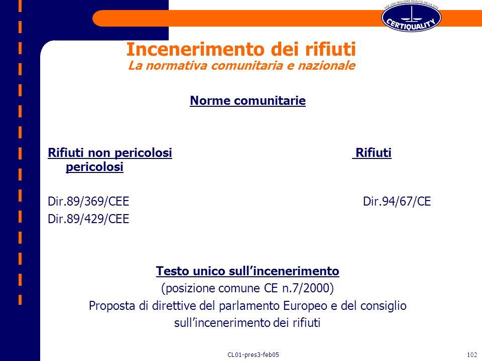 CL01-pres3-feb05101 Case History Impianti di incenerimento di rifiuti (DPR 503/97, D.M. 124/00) Impianti di trattamento rifiuti (D.Lgs. 22/97, D.M. 5/