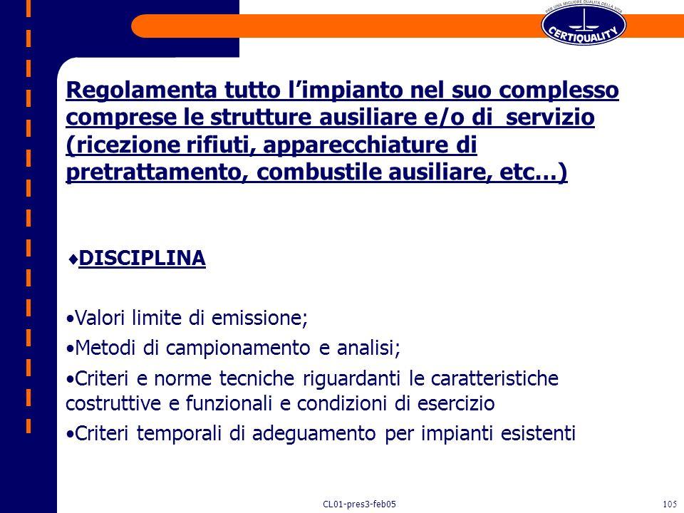 CL01-pres3-feb05104 IL DECRETO MINISTERIALE N. 503/97 Disciplina le emissioni e le condizioni di combustione degli impianti di incenerimento dei RSU,