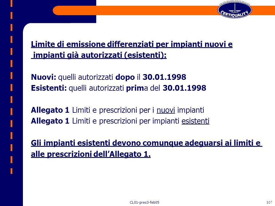 CL01-pres3-feb05106 Regolamenta Emissioni valori limite (simili a Dir. CE 94/67) aggiunge IPA e diossine non previste da 89/369; Metodi di campionamen