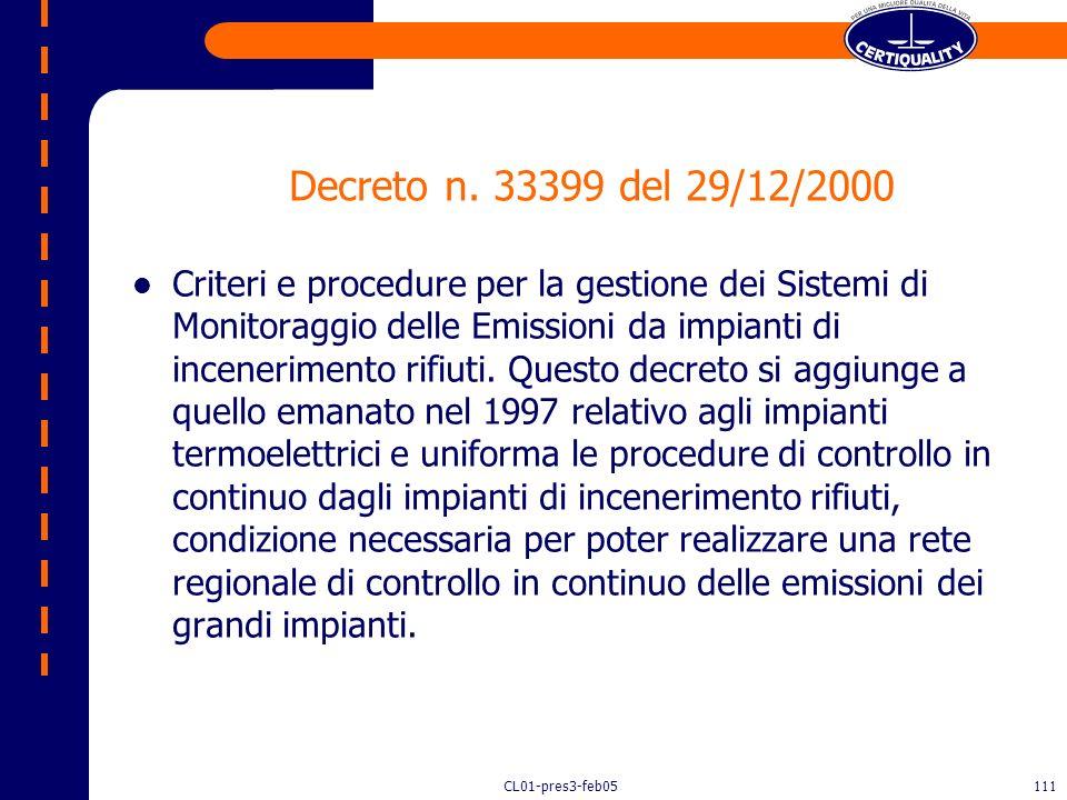 CL01-pres3-feb05110 IL DECRETO MINISTERIALE N. 124/2000 Disciplina le emissioni e le norme tecniche degli impianti di incenerimento di rifiuti pericol
