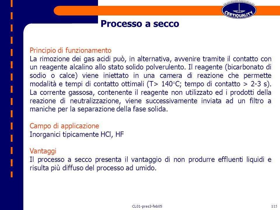 CL01-pres3-feb05114 Assorbimento Abbattimento alogeni Processo ad umido Processo a secco
