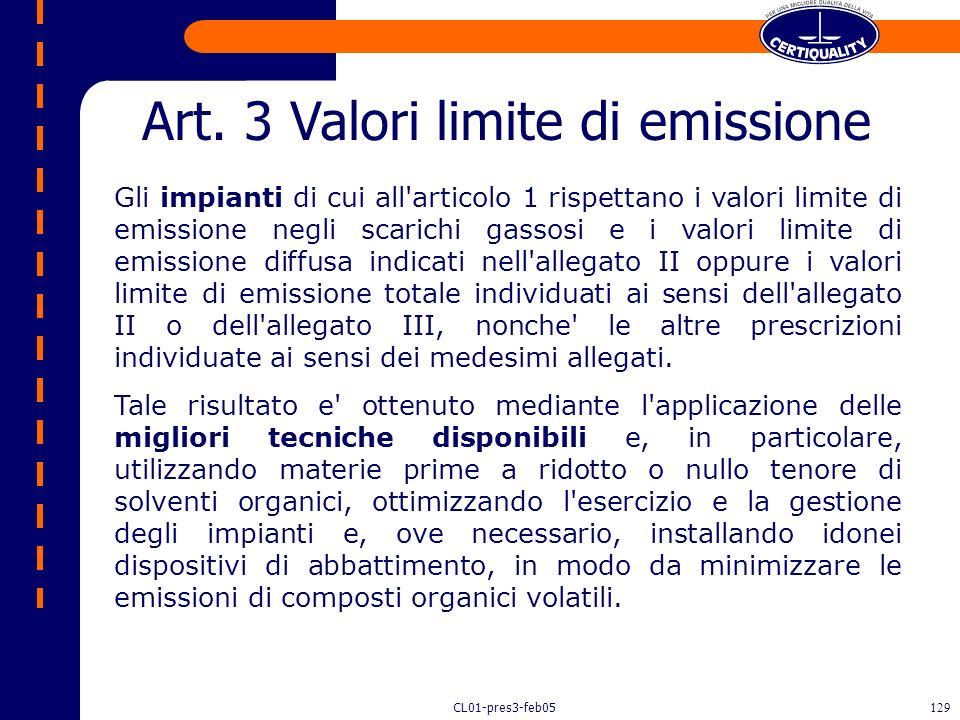 CL01-pres3-feb05128 Impianti che utilizzano solventi Decreto 16 gennaio 2004, n.44.