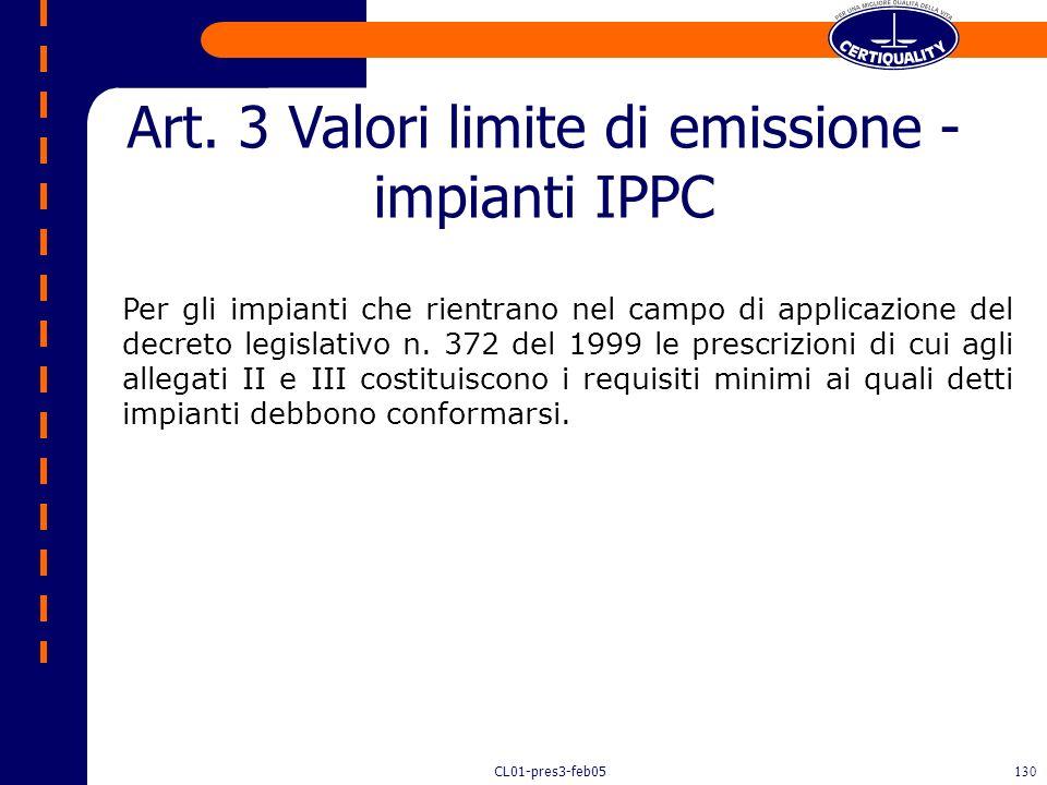 CL01-pres3-feb05129 Gli impianti di cui all'articolo 1 rispettano i valori limite di emissione negli scarichi gassosi e i valori limite di emissione d