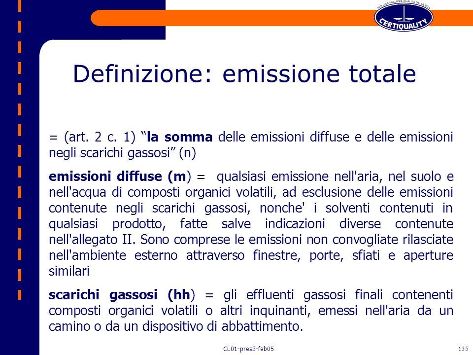 CL01-pres3-feb05134 OPZIONE 2 : C, D. (C) i valori limite di emissione totale indicati ancora nellallegato II (6° colonna: fattore di emissione es.:g/