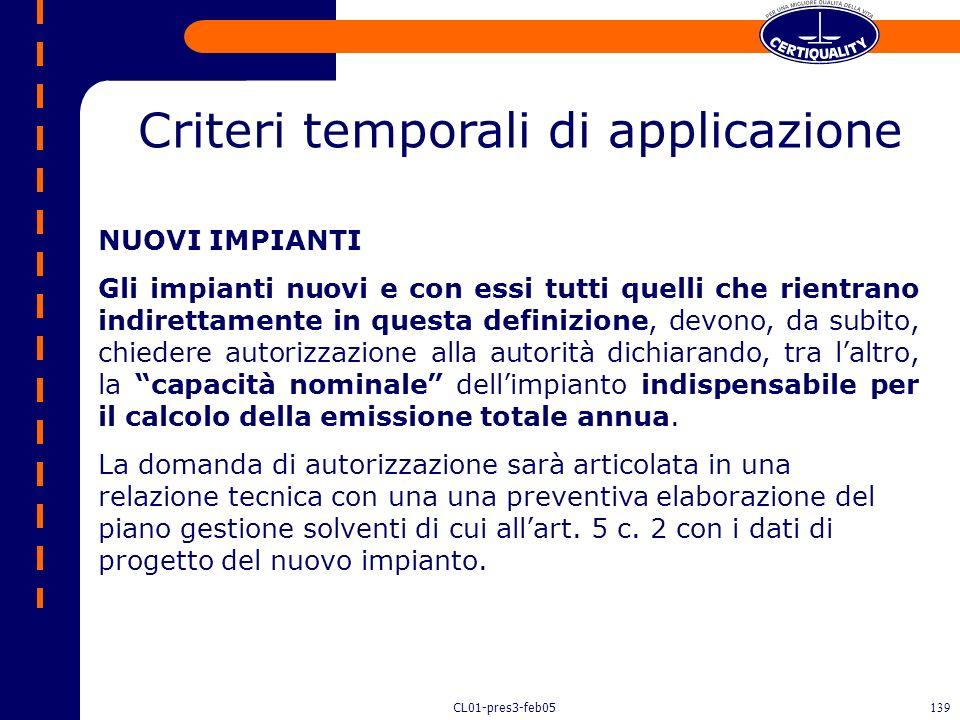 CL01-pres3-feb05138 Per un impianto che rientra nel campo di applicazione COV quali sono i limiti? DM 12/7/1990 o DM 44/2004 Gli impianti esistenti (e