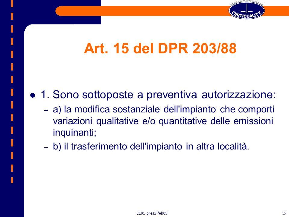 CL01-pres3-feb0514 Art. 6 del DPR 203/88 La costruzione di un nuovo impianto deve essere autorizzata ai sensi del DPR 203/88 con presentazione domanda