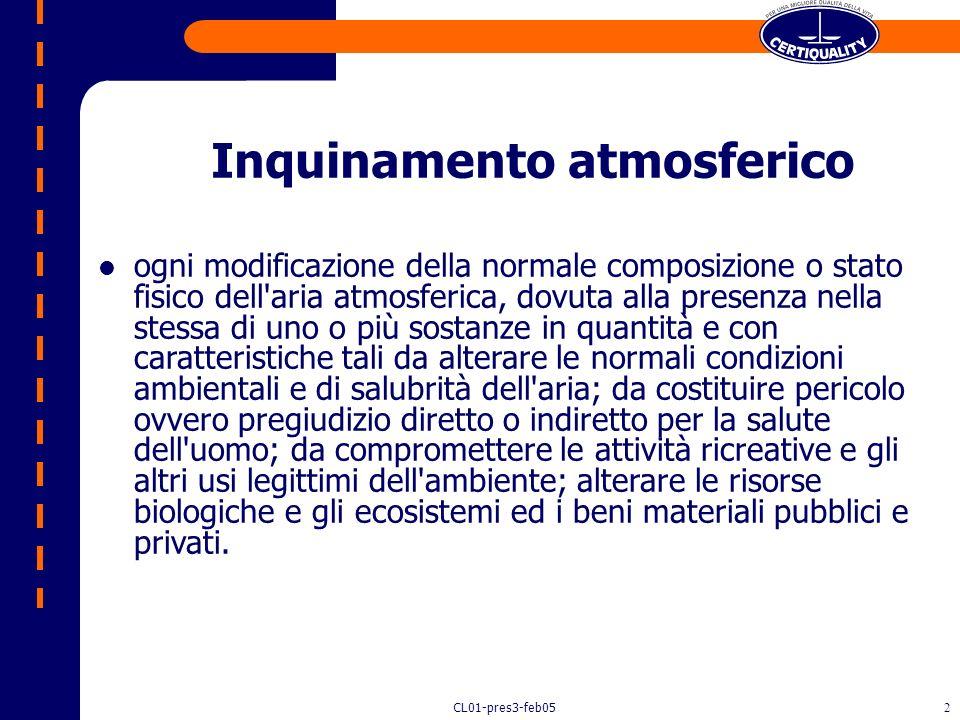 CL01-pres3-feb051 Emissioni in atmosfera Audit di conformità secondo la norma UNI EN ISO 14001 Ing. Irma Cavallotti