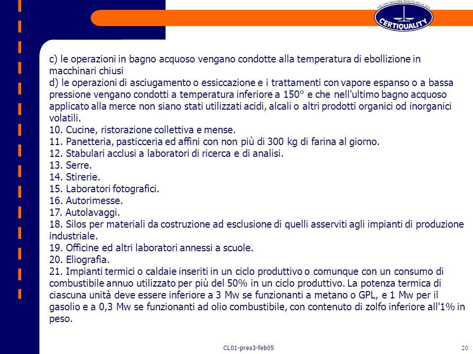 CL01-pres3-feb0519 Attività poco significative (DPR 21/07/1991) LEGISLATURA ALLEGATO 1 - ELENCO DELLE ATTIVITÀ AD INQUINAMENTO ATMOSFERICO POCO SIGNIF