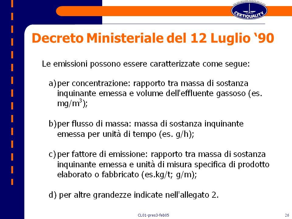 CL01-pres3-feb0525 Decreto Ministeriale del 12 Luglio 90 Art. 1 - FINALITÀ. 1. Il presente decreto stabilisce: – a) le linee guida per il contenimento