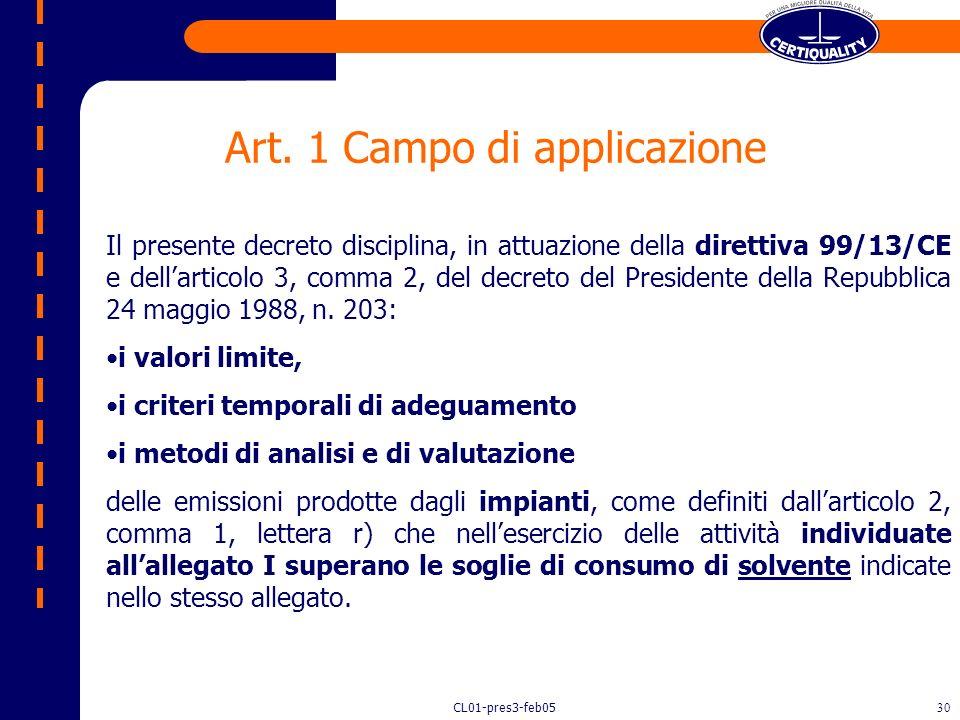 CL01-pres3-feb0529 Decreto 16 gennaio 2004, n.44 Decreto 16 gennaio 2004, n.44 Recepimento della direttiva 1999/13/CE relativa alla limitazione delle