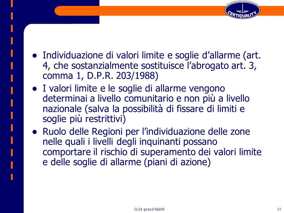 CL01-pres3-feb0534 D. Lgs. 4 agosto 1999, n. 351 Attuazione della direttiva 96/62/CE in materia di valutazione e di gestione della qualità dellaria am