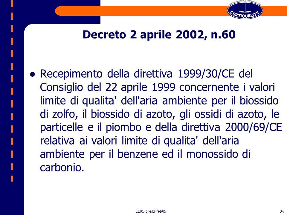 CL01-pres3-feb0535 Individuazione di valori limite e soglie dallarme (art. 4, che sostanzialmente sostituisce labrogato art. 3, comma 1, D.P.R. 203/19