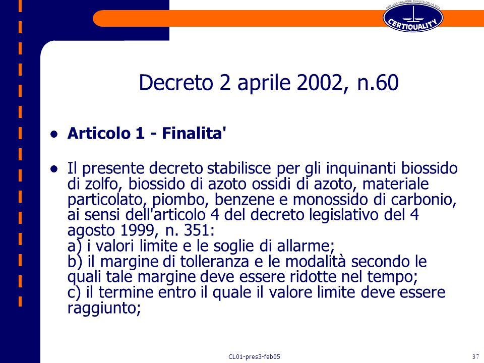 CL01-pres3-feb0536 Decreto 2 aprile 2002, n.60 Recepimento della direttiva 1999/30/CE del Consiglio del 22 aprile 1999 concernente i valori limite di