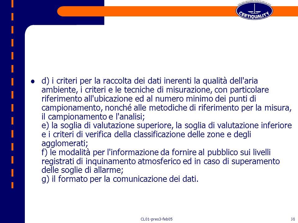 CL01-pres3-feb0537 Decreto 2 aprile 2002, n.60 Articolo 1 - Finalita' Il presente decreto stabilisce per gli inquinanti biossido di zolfo, biossido di