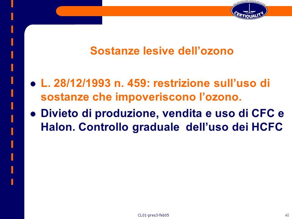 CL01-pres3-feb0539 Inquinamento provocato dallozono Direttiva 2001/42/CE: sullinquinamento provocato dallozono La direttiva mira a stabilire una proce