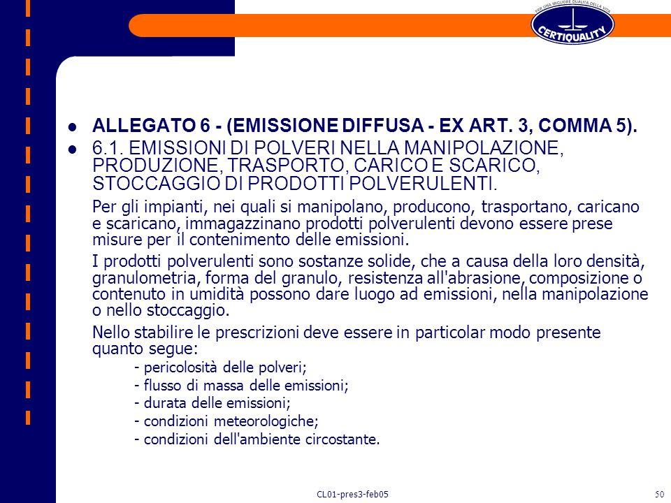 CL01-pres3-feb0549 Controllo delle Emissioni Diffuse n Lo stoccaggio e il trasporto di materiali inquinanti devono essere realizzati in modo da minimi