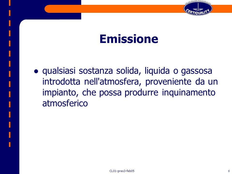 CL01-pres3-feb055 Valori guida di qualità dell'aria limiti delle concentrazioni e limiti di esposizione relativi ad inquinamenti nell'ambiente esterno