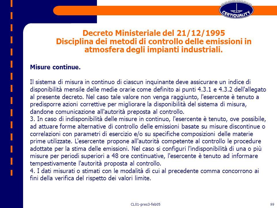 CL01-pres3-feb0598 Condizioni di isocinetismo - art. 3, comma 6, del d.p.r. 322/71