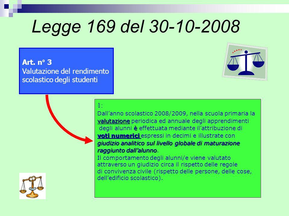 Art. n° 3 Valutazione del rendimento scolastico degli studenti 1: Dallanno scolastico 2008/2009, nella scuola primaria la valutazione valutazione peri