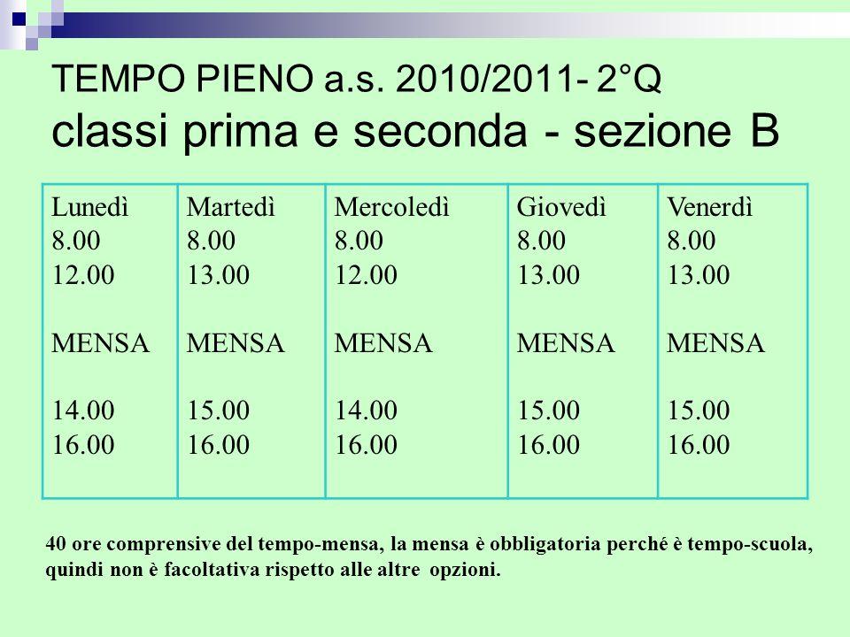 TEMPO PIENO a.s. 2010/2011- 2°Q classi prima e seconda - sezione B Lunedì 8.00 12.00 MENSA 14.00 16.00 Martedì 8.00 13.00 MENSA 15.00 16.00 Mercoledì