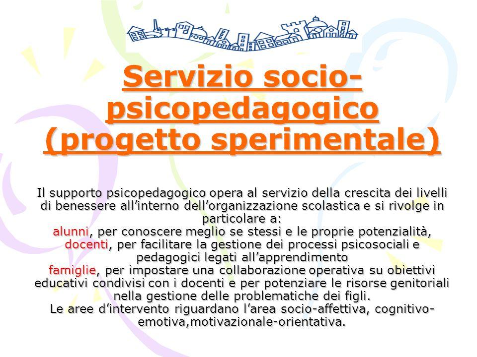 Servizio socio- psicopedagogico (progetto sperimentale) Il supporto psicopedagogico opera al servizio della crescita dei livelli di benessere allinter
