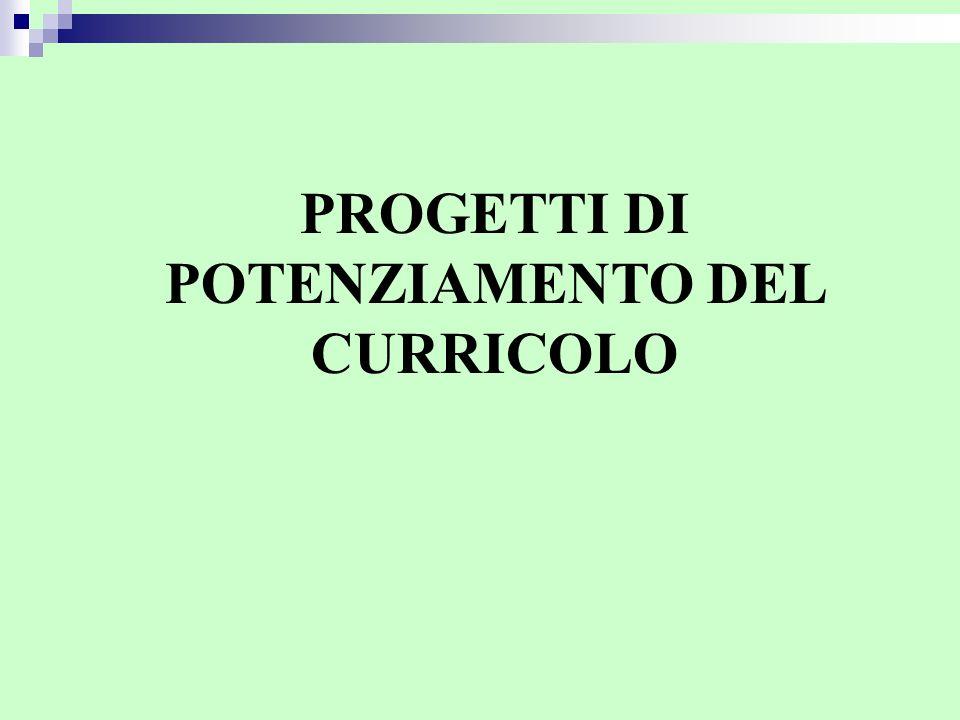PROGETTI DI POTENZIAMENTO DEL CURRICOLO