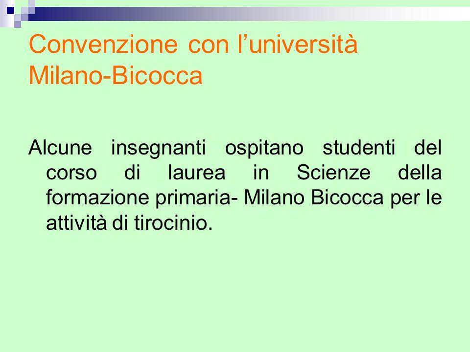 Convenzione con luniversità Milano-Bicocca Alcune insegnanti ospitano studenti del corso di laurea in Scienze della formazione primaria- Milano Bicocc