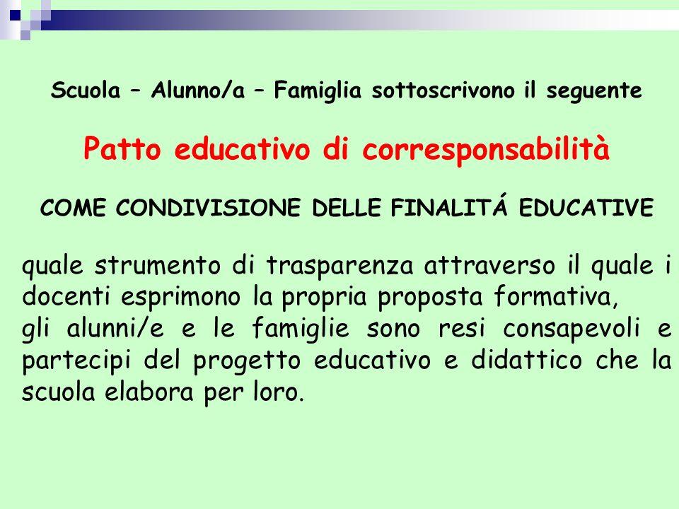 Scuola – Alunno/a – Famiglia sottoscrivono il seguente Patto educativo di corresponsabilità COME CONDIVISIONE DELLE FINALITÁ EDUCATIVE quale strumento