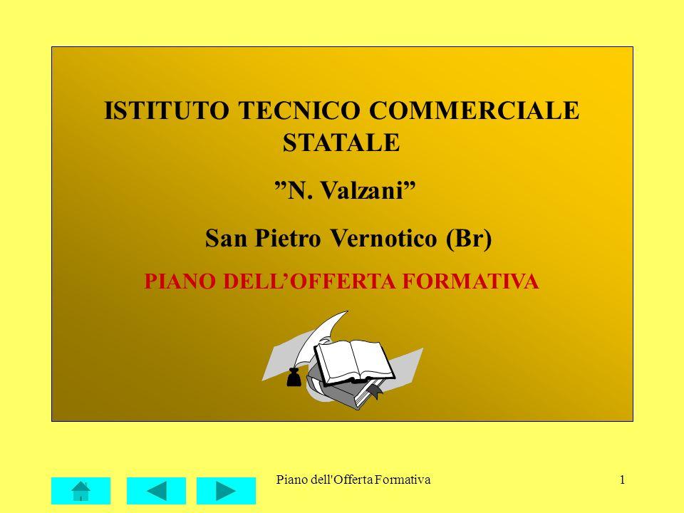 Piano dell'Offerta Formativa1 ISTITUTO TECNICO COMMERCIALE STATALE N. Valzani San Pietro Vernotico (Br) PIANO DELLOFFERTA FORMATIVA