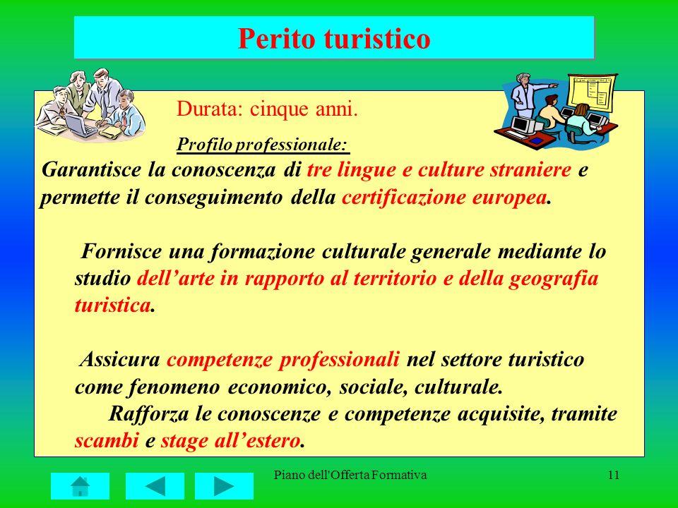 Piano dell'Offerta Formativa11 Perito turistico Durata: cinque anni. Profilo professionale: Garantisce la conoscenza di tre lingue e culture straniere