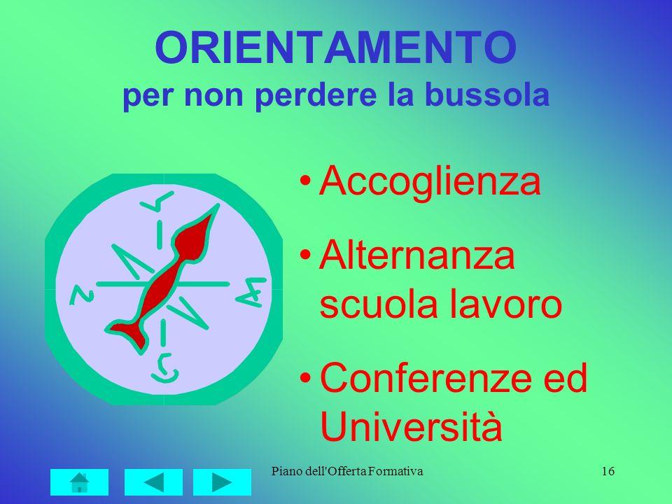 Piano dell'Offerta Formativa16 ORIENTAMENTO per non perdere la bussola Accoglienza Alternanza scuola lavoro Conferenze ed Università