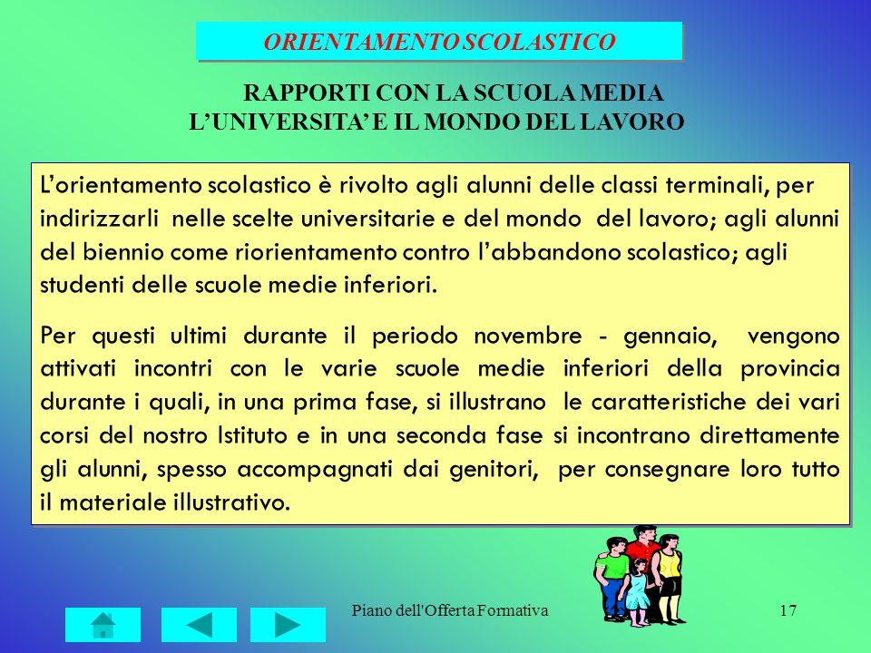 Piano dell'Offerta Formativa17 Lorientamento scolastico è rivolto agli alunni delle classi terminali, per indirizzarli nelle scelte universitarie e de
