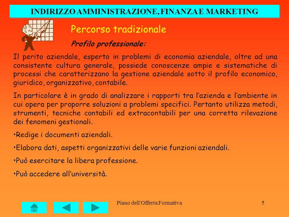 Piano dell'Offerta Formativa5 Percorso tradizionale Profilo professionale: Il perito aziendale, esperto in problemi di economia aziendale, oltre ad un