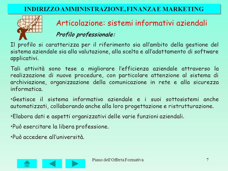 Piano dell'Offerta Formativa7 Articolazione: sistemi informativi aziendali Profilo professionale: Il profilo si caratterizza per il riferimento sia al