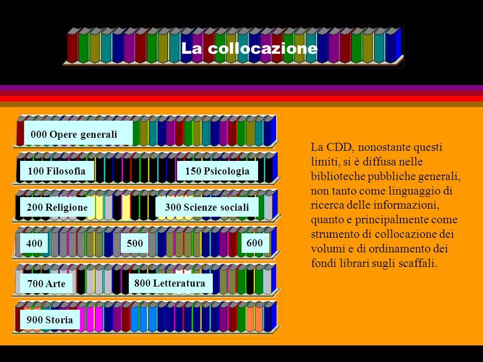 La collocazione La CDD, nonostante questi limiti, si è diffusa nelle biblioteche pubbliche generali, non tanto come linguaggio di ricerca delle inform
