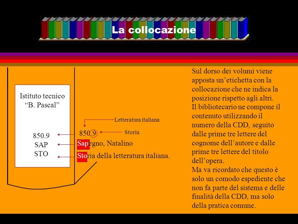 La collocazione Sul dorso dei volumi viene apposta unetichetta con la collocazione che ne indica la posizione rispetto agli altri. Il bibliotecario ne